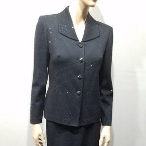 ST JOHN Evening Size 4 Black Skirt Blazer Suit
